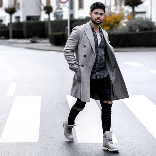 26 Grey Casual Boots & Grey Long Coat