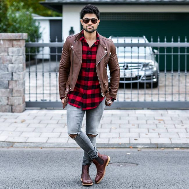 27 Brown Casual Boots & Red-Black Checkered Shirt