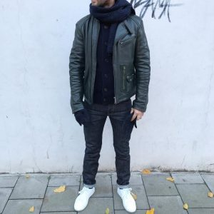27 Pin Rolled Japanese Denim and Leather Jacket