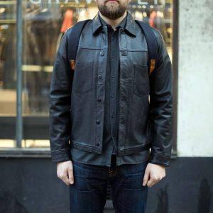 27 Pre-Washed Blue Jeans & Light Black Leather Jacket