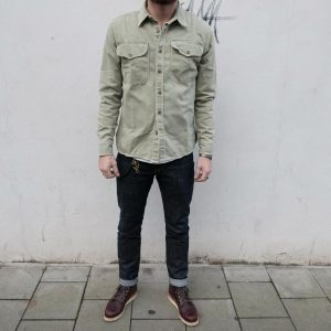 28 Army Green Utility Shirt and Denim Combo