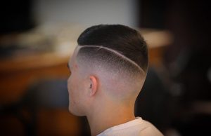 28 Bald Fade with Hard Part