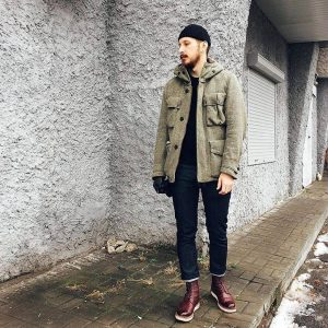 28 Dry Slim Fit Blue Jeans & Brown Winter Jacket