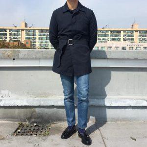29 Black Loafers & Long Navy Blue Coat