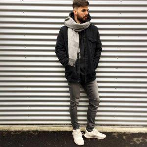29 Slim- Fit Grey Jeans & Black Hoodie