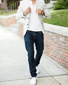 29 White Blazer with a Matching Polo Shirt