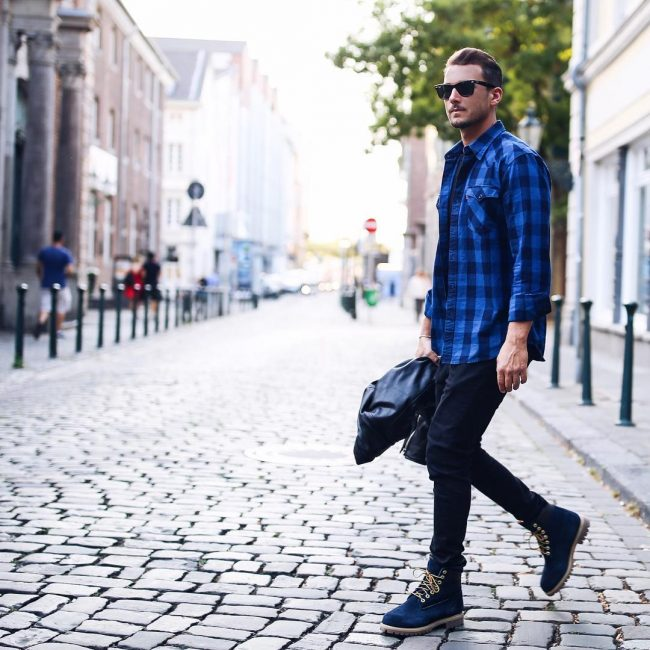 3 Blue-Black Checkered Shirt & Slim-Fit Navy Blue Pants