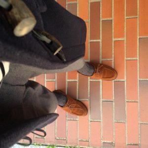 3 Brown Suede Loafers & Grey Long Coat