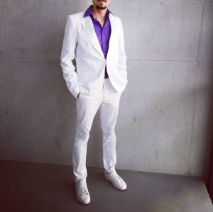 3 Classic White Suit with Purple Shirt