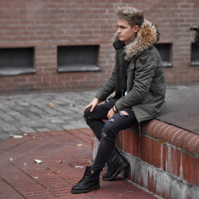 3 Dark Green Parka Coat with Ripped Jeans