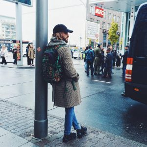 3 Grey Checkered Long Coat & Blue Fitting Jeans