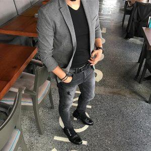 3 Grey Jacket Black Pants Punk Style
