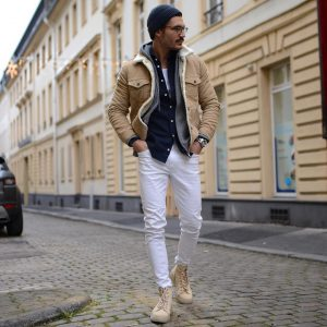 3 Light Brown Casual Boots & Slim Fit White Pants