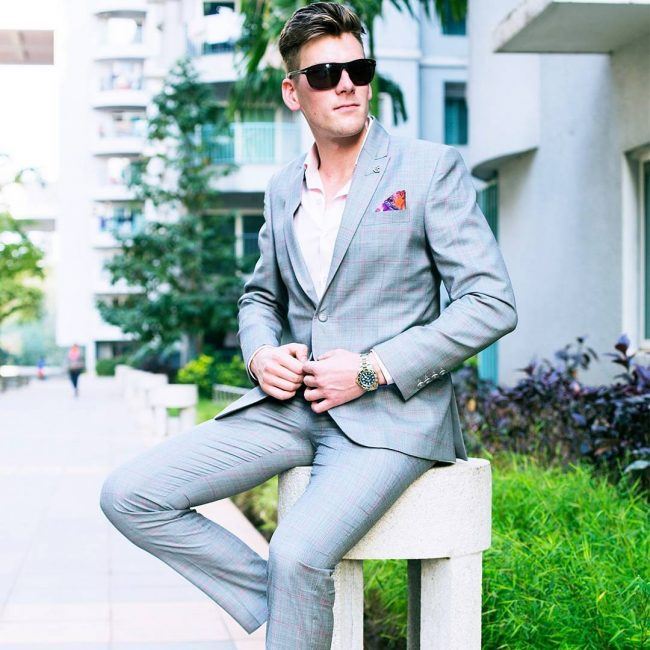 3 Mid Blue Squared Suit