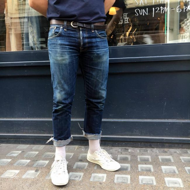 3 Pre-Washed Blue Jeans & Cream White Canvas