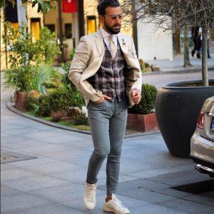 3 White Blazer with Checked Undercoat