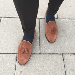 30 Brown Suede Loafers & Black Trousers