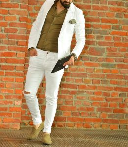 30 White Blazer with Fitting Torn White Jeans Trousers