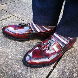 32 Red-Black Loafers & Navy Blue Suit