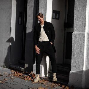 33 Cream White Boots & Long Black Coat