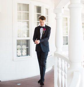 33 Designer Suit With Pink Lapel Flower