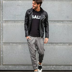 33 Grey Joggers and a Leather Jacket