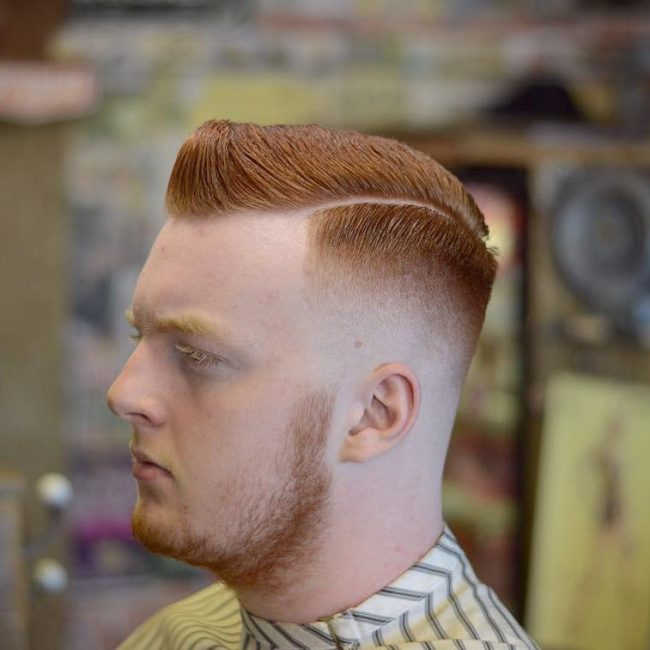 33 Tapered and Parted Redhead Comb Over
