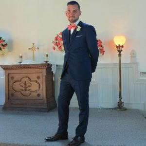 34 Blue Suit With Pink Bow tie
