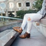 35 Dark Brown Casual Boots & Torn White Jeans