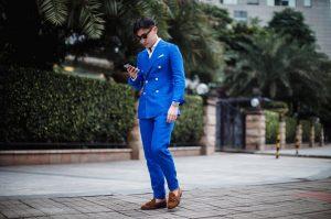 35 Dark Brown Loafers & Strong Blue Designer Suit