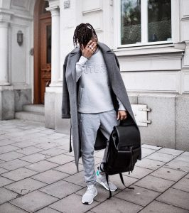 35 Light Grey Joggers Suit and Dark Grey Long Coat