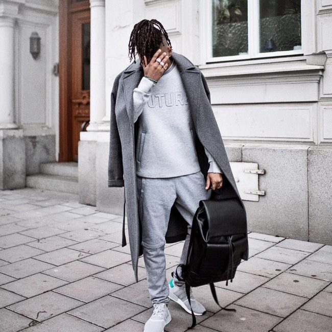 35 Light Grey Joggers Suit and Dark Grey Long Coat