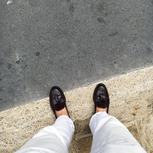 36 Black Loafers & Cream White Pants