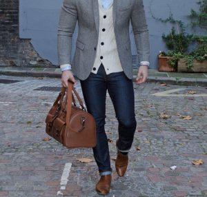 37 Brown Casual Boots & Slim Fit Grey Blazer