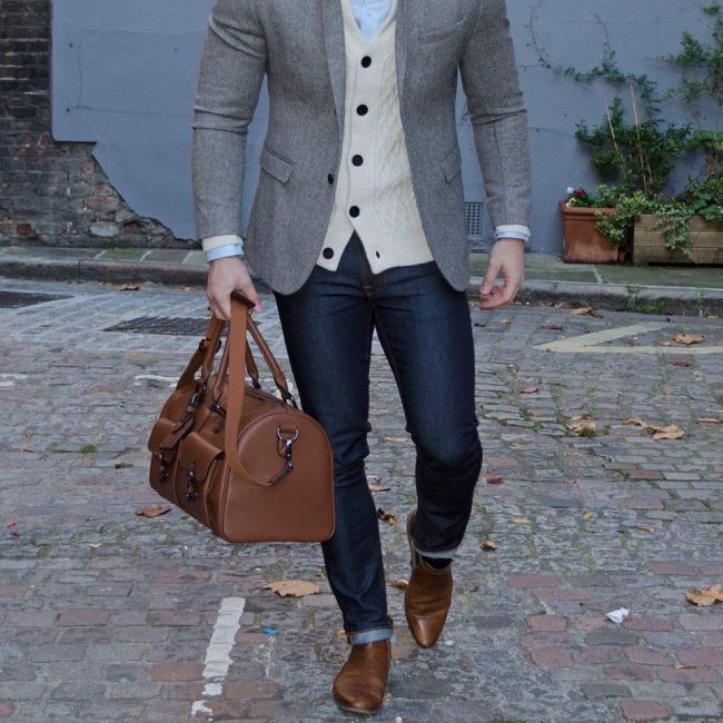 37 Brown Casual Boots & Slim Fit Grey Blazer