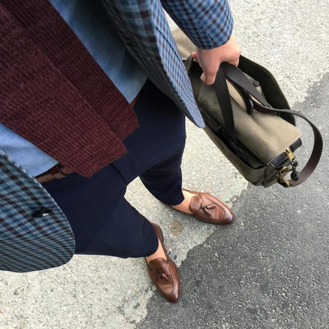 38 Dark Brown Loafers & Blue Checkered Blazer