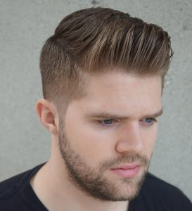 38 Textured Pompadour with Trimmed Beard