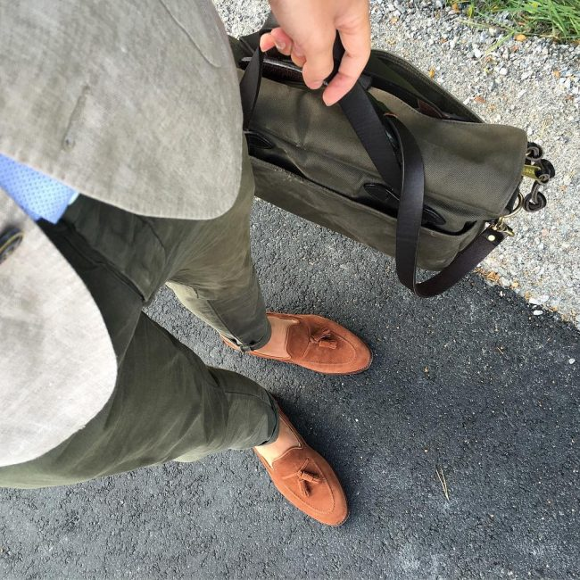 4 Brown Suede Loafers & Jungle Green Pants