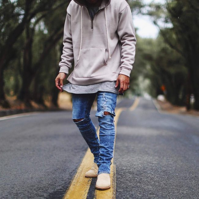 4 Hood and Distressed Jeans