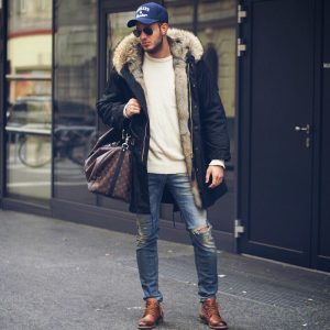 4 Navy Blue Coat with Brown Boots