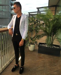 4 White Blazer with a Black V-Collar T-Shirt