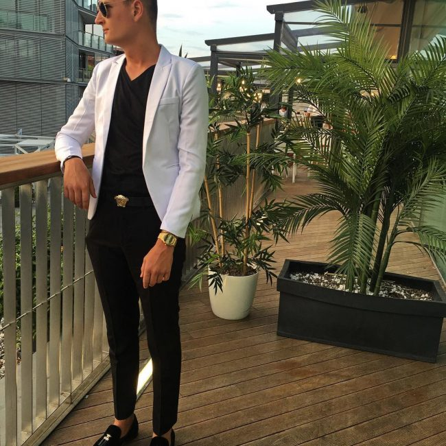 4 White Blazer with a Black V-Collar T-Shirt