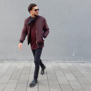 42 Black Jeans with Bomber Jackets