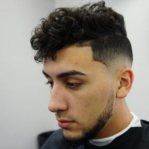 44 Curly Crop with Mid Skin Fade