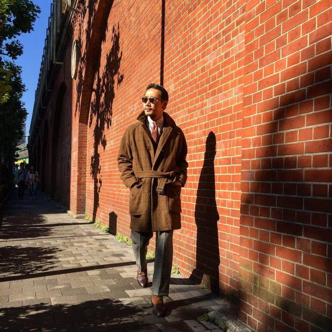 5 Brown Wrap Coat & Grey Pants
