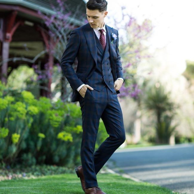 5 Lightly Checked 3-Piece Blue Suit