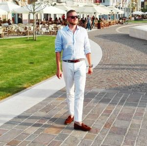 5 Red Loafers & White Pants