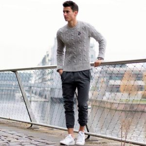 6 Black Joggers with Fitting Grey Sweater