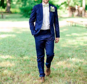6 Blue Suit & Dark Brown Shoes