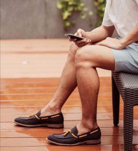 6 Dark Brown Loafers & Striped Grey Short